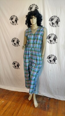 Womens Silk Jumpsuit Med plaid Romper