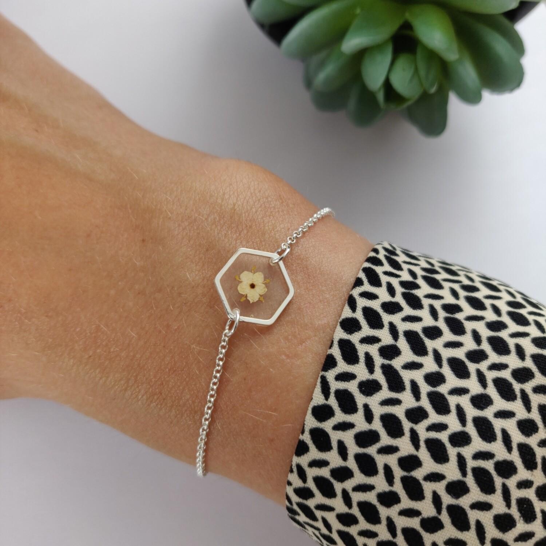 ELDERFLOWER: armband zilver hex klein