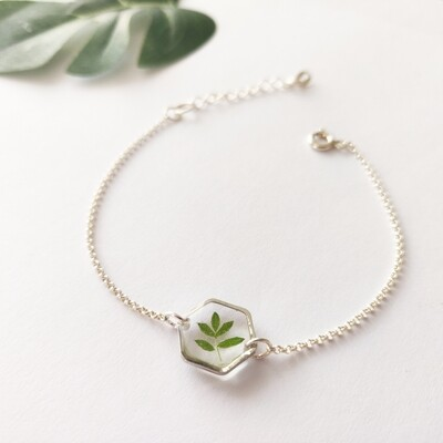 LEAVES: armband zilver hex klein