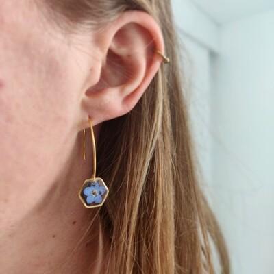 Vergeet me nietje: oorbellen goud hex lang