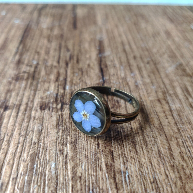 Vergeet me nietje: ring brons