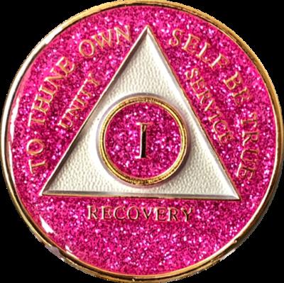 Pink Glitter Medallion Years 1-5