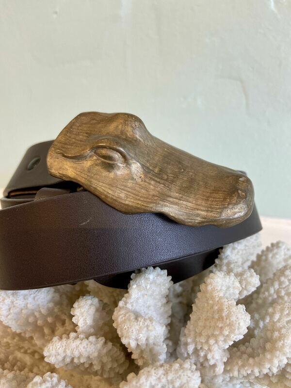 Bronze Alligator Head Belt Buckle