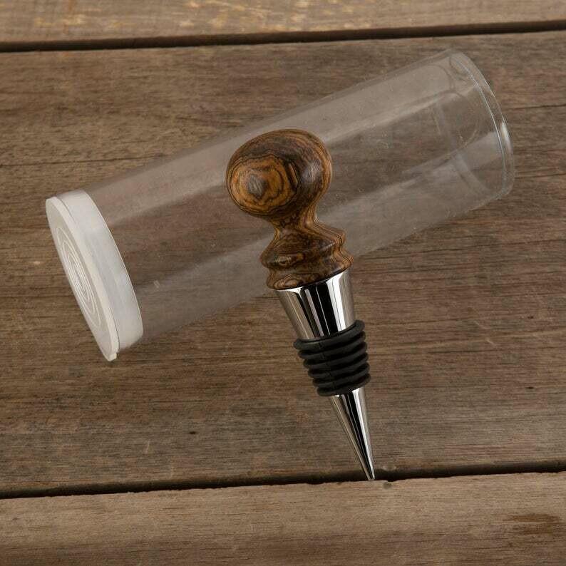 Bocote Wood Bottle Stopper in Silver