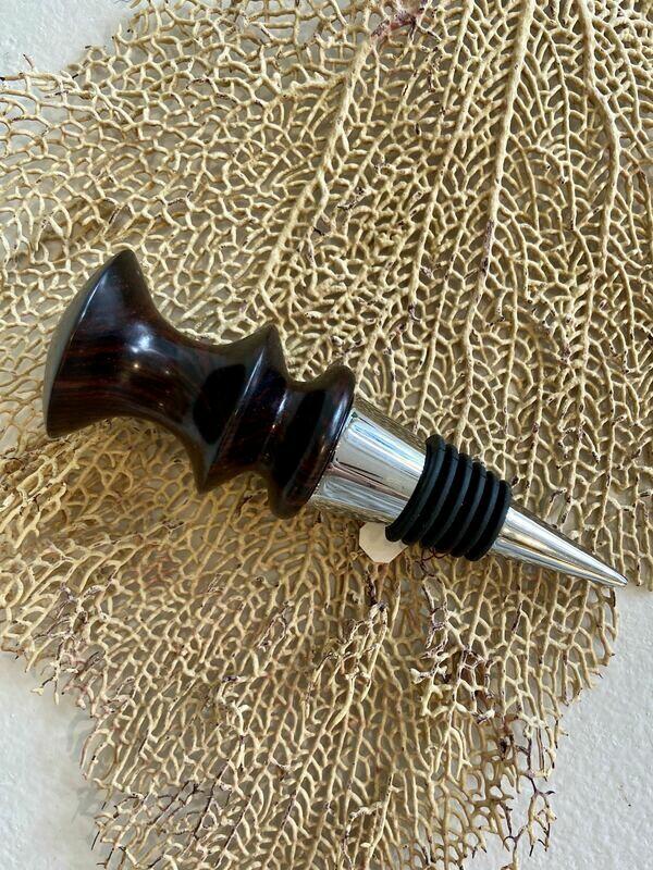 Cocobolo Wood Bottle Stopper in Silver