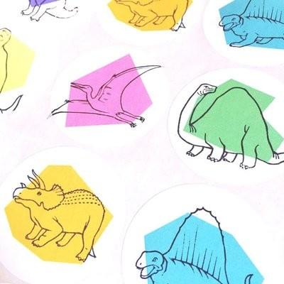 12 Circular Dinosaur Stickers