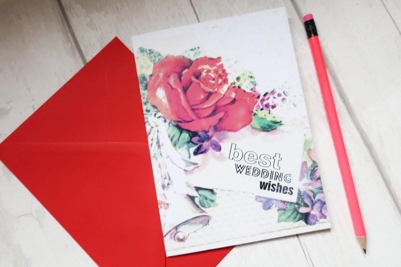 Vintage grunge Wedding congratulations card