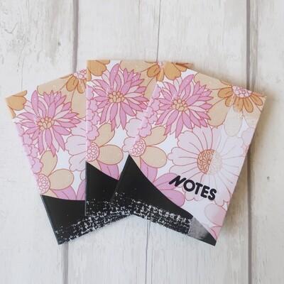 Vintage design pink floral wallpaper notebook