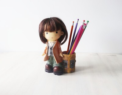 Cute Little girl pen pot