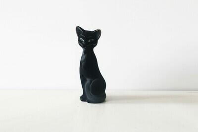 Vintage Tall Black Flocked Cat Money Bank