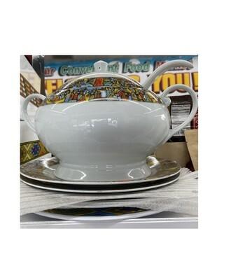 የምግብ ማቅረቢያ ጎድጓዳ ሳህን፣ ጭልፋ እና 4 ሳህን Ethiopian serving bowl with ladle, 4 plates