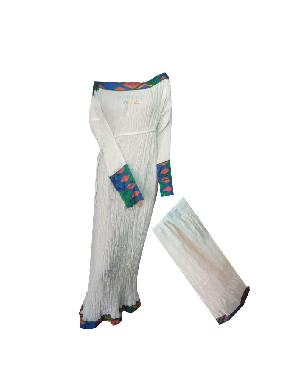 ረዘም ያለ የሀበሻ ቀሚስ  Ethiopian Traditional Long Dress Free Size
