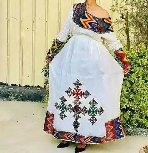 ረዘም ያለ የሀበሻ ቀሚስ  Ethiopian Traditional Long Dress