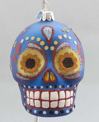 Day of the Dead Glass Skull -Blue
