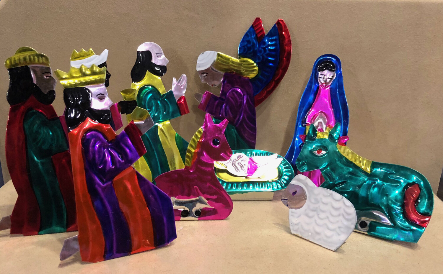 Mexican Painted Tin Nativity - Large