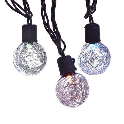LED Silver Tinsel Ball Light Set