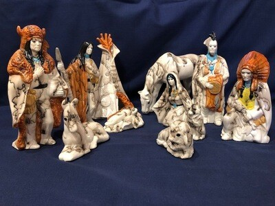 Clay Horse Hair Nativity Set