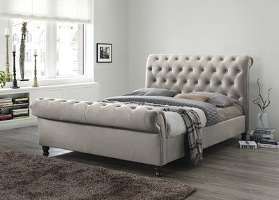 Champagne 6ft Fabric Upholstered Bed