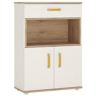 4KIDS Double Door Drawer Cupboard with Open Shelf