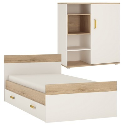 Set of 4KIDS Single Bed with Under Drawer and Low Cabinet