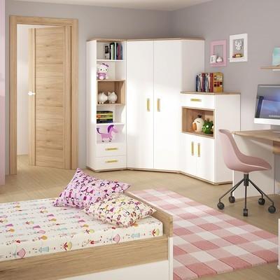 Set of 4KIDS Corner Wardrobe, Tall Bookcase & Cupboard