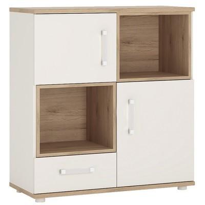 4KIDS Double Door Drawer Cupboard with 2 Open Shelves