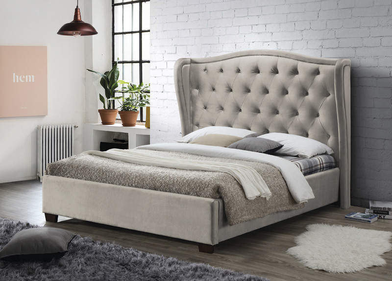 Champagne Modern Double Upholstered Fabric Bed