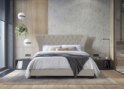 Modern Super King Ottoman Fabric Bed in Champagne