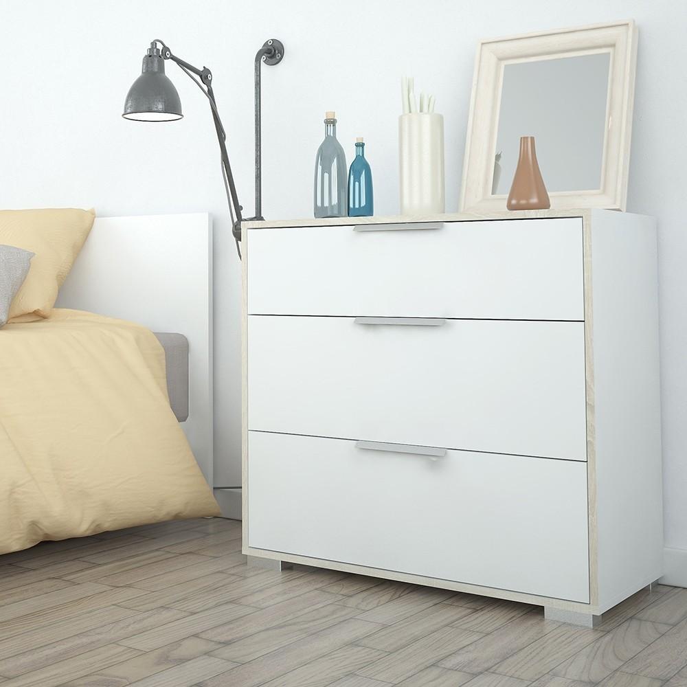 Line White & Oak 3 Drawer Chest