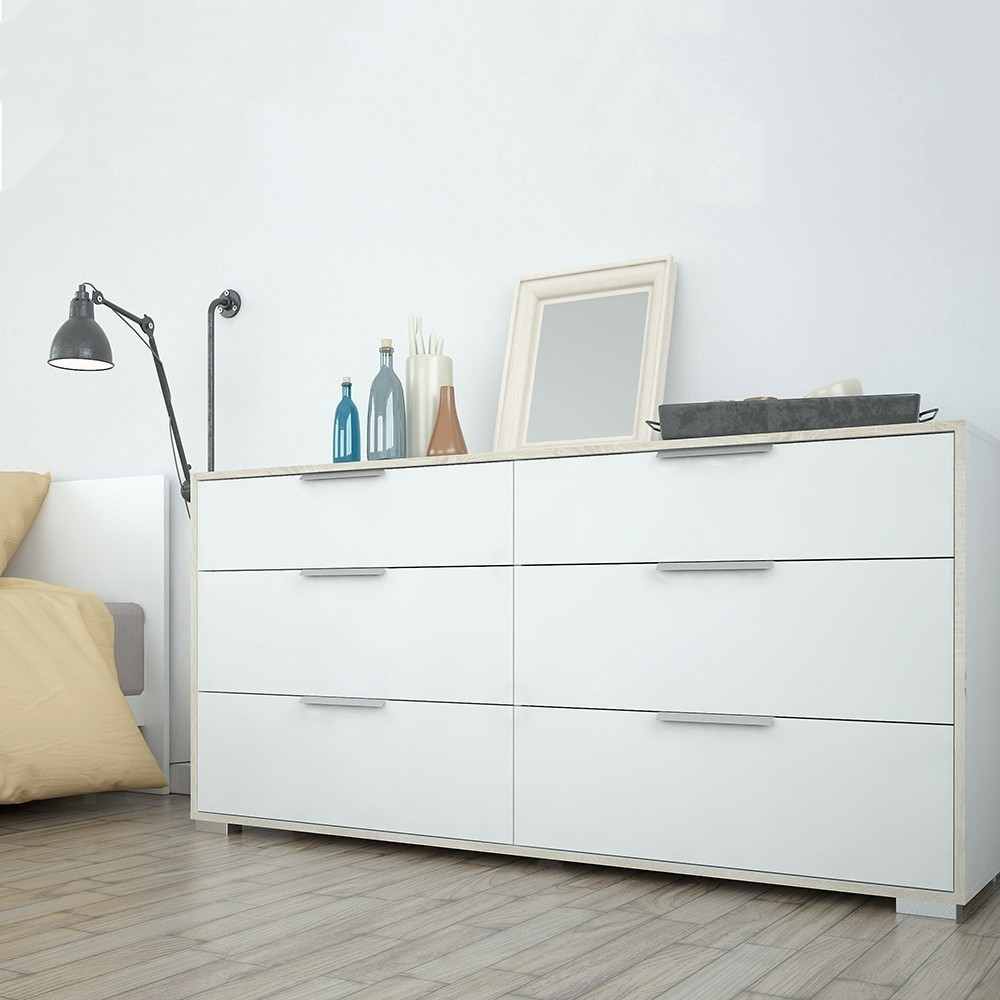 Line White & Oak 6 Drawers Wide Chest