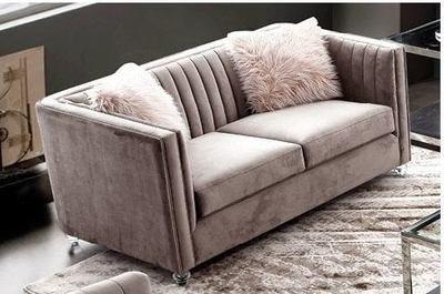 Pink Velvet Two Seater Sofa