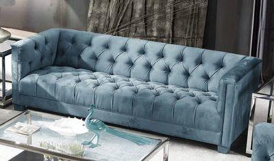 Tufted Teal Blue Velvet Three Seater Sofa