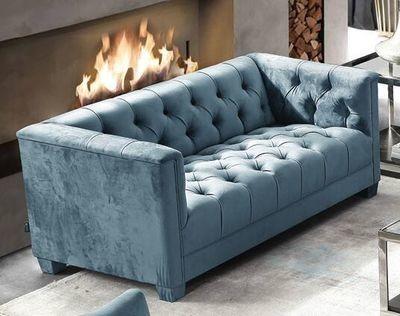 Tufted Teal Blue Velvet Two Seater Sofa