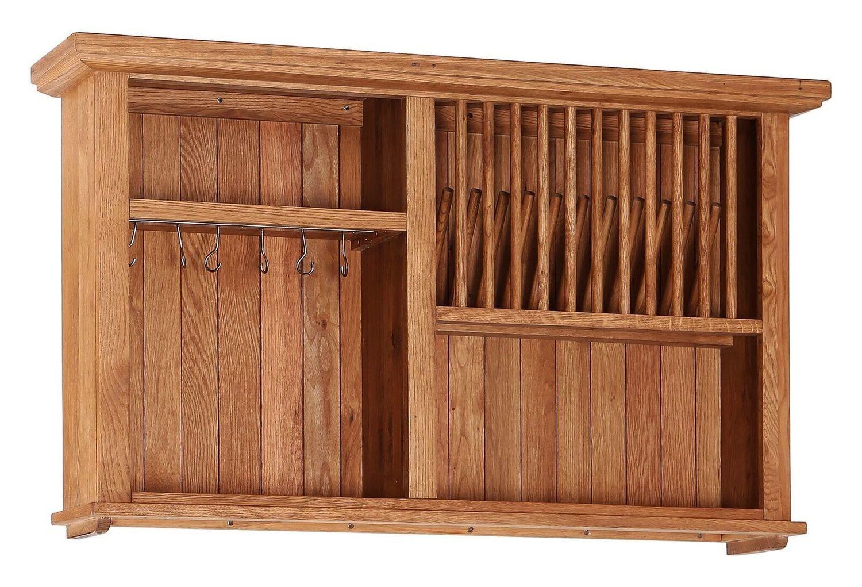 Oak Open Shelf Wall Cabinet with Wine Rack