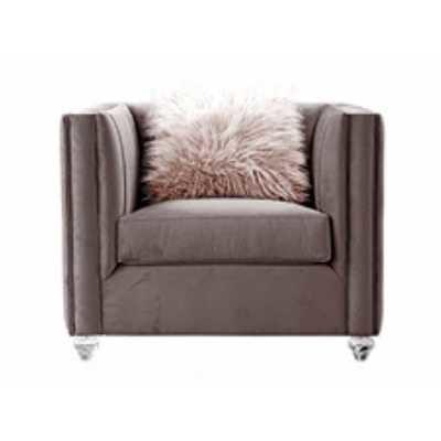 Pink Velvet Single Seater Sofa