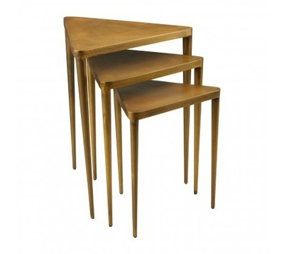 Compo Golden Brown Triangular Side Tables