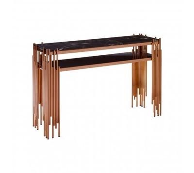 Alvaro Rose Gold Rectangular Console Table