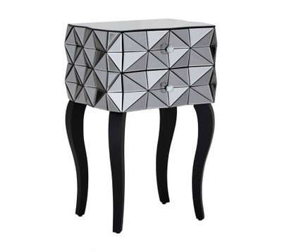 Soho Silver 2 Drawer 3D Side Table