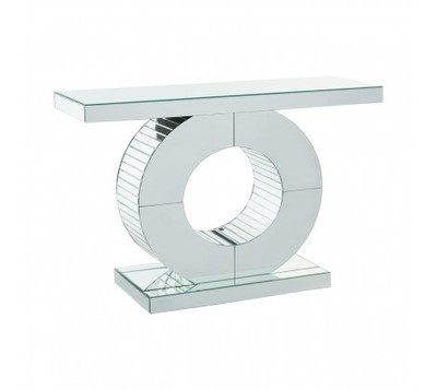 Gianara Mirrored Glass Angular Rounded Console Table