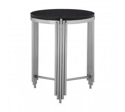 Clarice Silver Metal and Black Granite Round Side Table