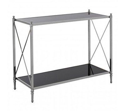 Hoffmann Silver Metal and Black Glass Console Table