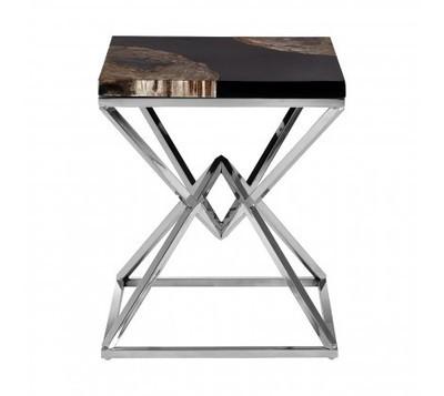 Relic Dark Petrified Wood Steel Side Table
