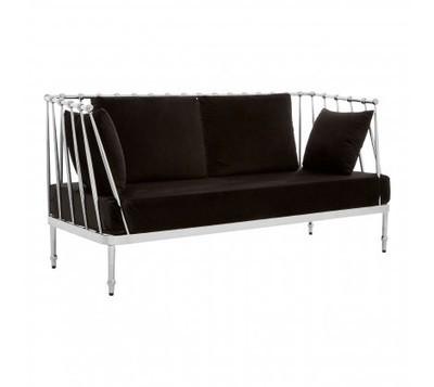 Novo 2 Seater Black Fabric Silver Finish Tapered Sofa