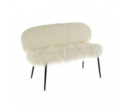 Sienna Faux Fur White Sofa with Black Legs