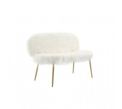 Sienna Faux Fur White Sofa with Gold Legs