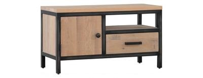 Forge Iron and Oak Single Door Drawer TV Unit