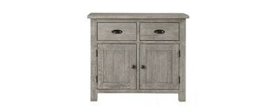 Solid Oak Grey 2 Drawers & 2 Doors Buffet Cabinet