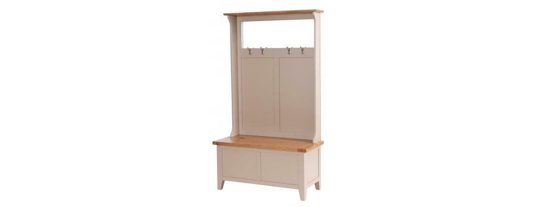 Grey Storage Bench with Coat Rack & Mirror