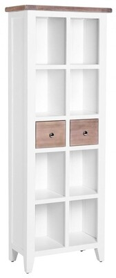 Chalked Oak & Pure White 2 Drawer Bookcase