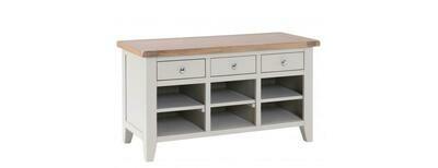 Chalked Oak & Light Grey 3 Drawer Shoe Organiser